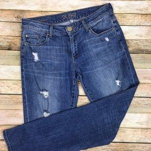DL1961 • Riley Boyfriend Jeans Scarlet Distressed